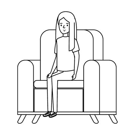 little girl sitting in sofa character vector illustration design Illustration