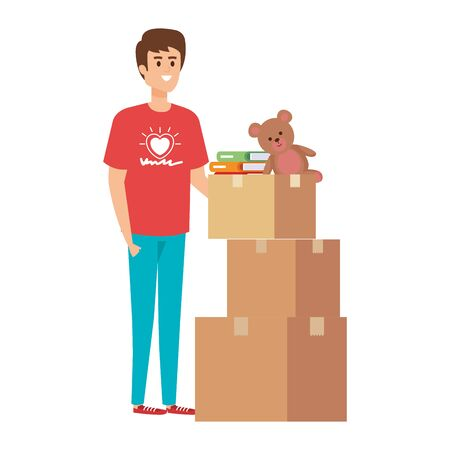 young man volunteer with donations boxes vector illustration design Stock Illustratie