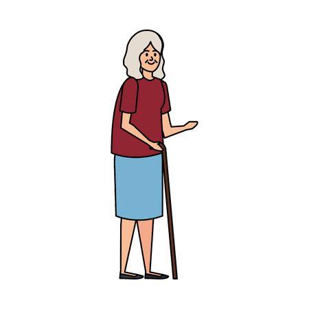 old woman with cane character vector illustration design Illusztráció
