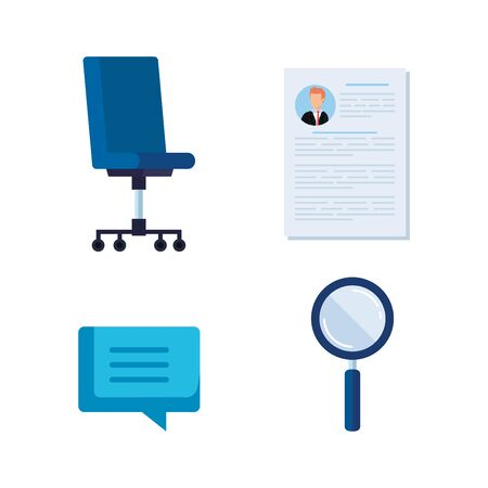 set curriculum vitae wih chat bubble and magnifying glass vector illustration