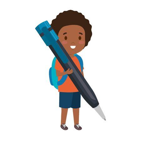 black little student boy with pen vector illustration design