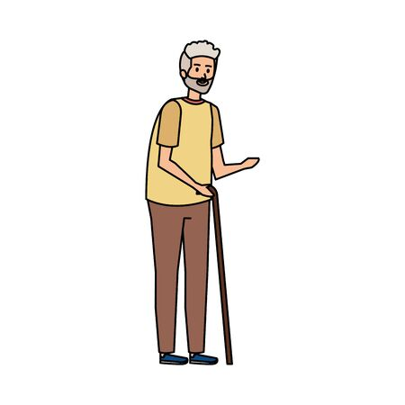old man with cane character vector illustration design