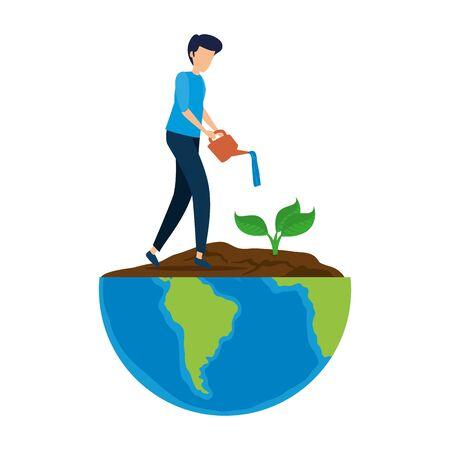 Joven plantando árboles en el planeta tierra, diseño de ilustraciones vectoriales