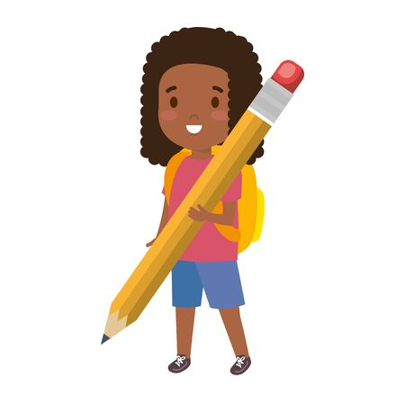 black little student girl with pencil vector illustration design