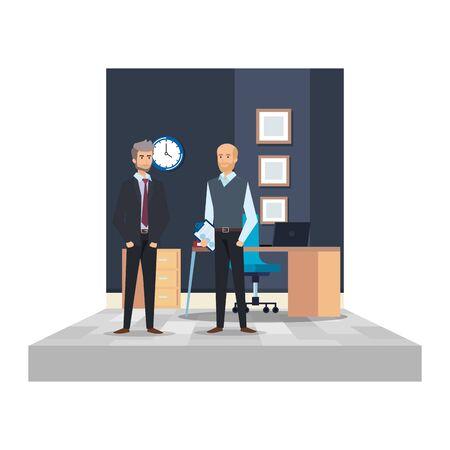 couple of businessmen in the office scene vector illustration design
