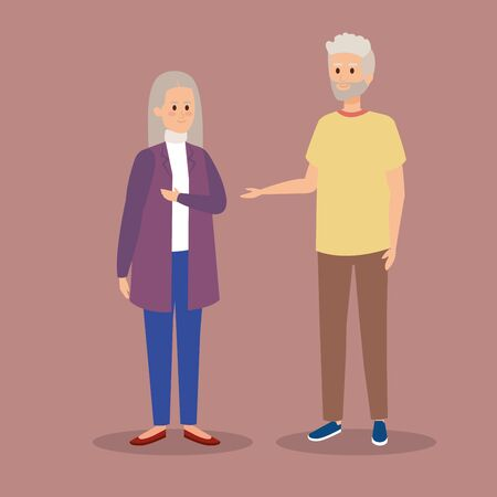old woman and man couple together vector illustration Illusztráció