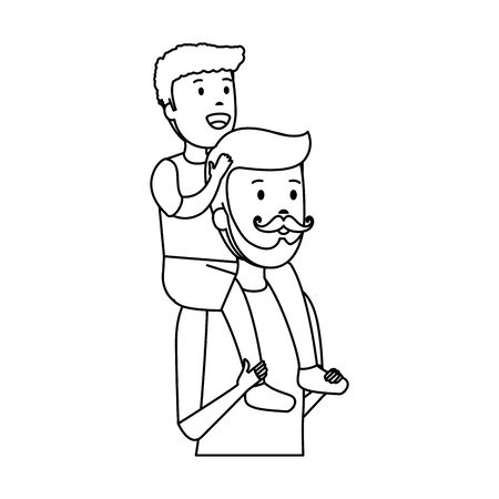 young father with son characters vector illustration design Standard-Bild - 132903626
