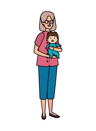 cute grandmother with baby vector illustration design Illusztráció