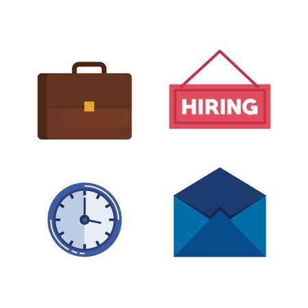 Définir une mallette avec horloge et illustration vectorielle de lettre d'embauche Vecteurs