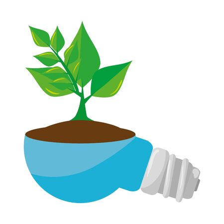 saver bulb energy with plant vector illustration design