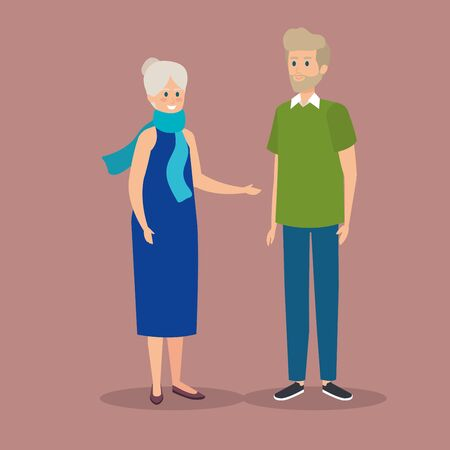 old woman and man couple with hairstyle vector illustration