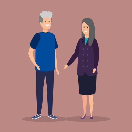 old woman and man couple together with casual clothes vector illustration