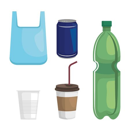 set of plastic bag with cups and bottle over white background vector illustration Ilustração