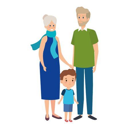 cute grand parents couple with grandson vector illustration design Illustration