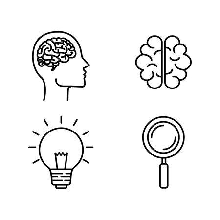 set silhouette man head with brain and bulb idea vector illustration