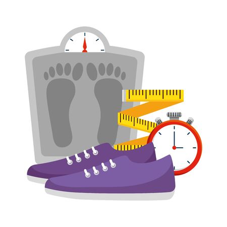 measure weight with healthy icons vector illustration design Ilustração