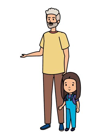 cute grandfather with granddaughter vector illustration design Иллюстрация