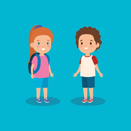girl and boy with casual clothes and backpack vector illustration