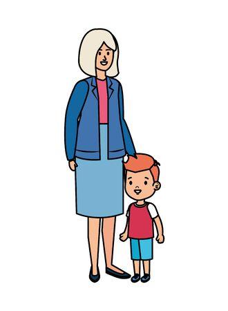 cute grandmother with grandson vector illustration design