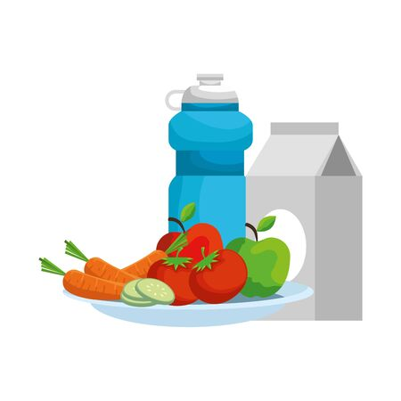 dish with salad and beverages vector illustration design Ilustrace