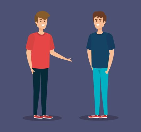 cute boys with fashion hairstyle and casual clothes vector illustration  イラスト・ベクター素材