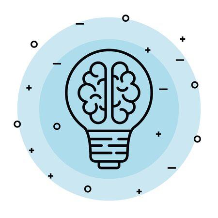 bulb idea with health brain and creative vector illustration