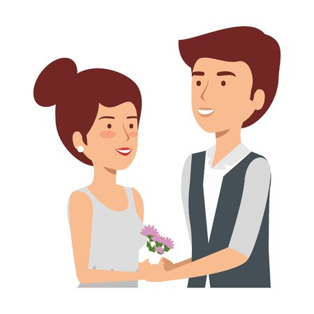 recently married couple characters vector illustration design Standard-Bild - 132919532