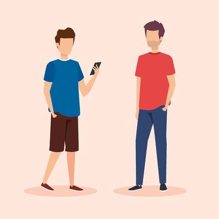 men with social smartphone technology vector illustration