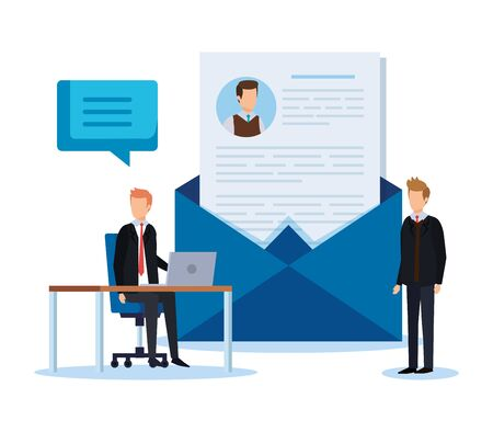 businessmen with curriculum vitae and chat bubble vector illustration