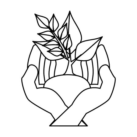 hands protected ecology leafs plant vector illustration design