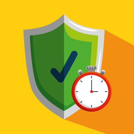 shield security with chronometer to health lifestyle vector illustration