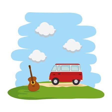 landscape with hippy van and guitar vector illustration design Ilustração
