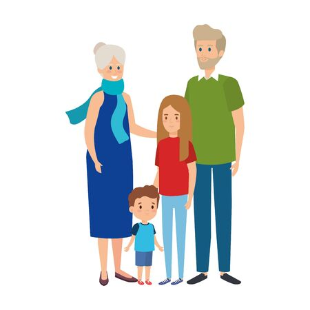 cute grandparents couple with grandson and granddaughter vector illustration