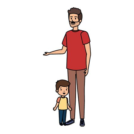 young father with son characters vector illustration design 일러스트
