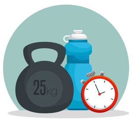 water bottle with dumbbells and chronometer to balance vector illustration Ilustração