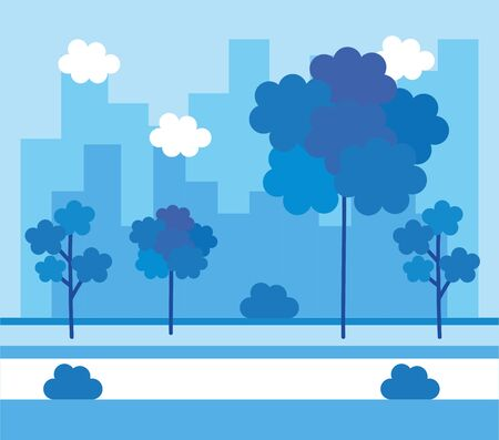 park with cityscape background vector illustration design Banque d'images - 132931129