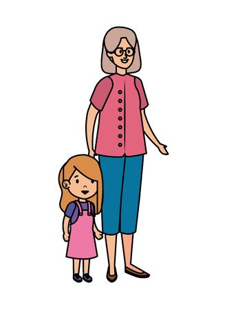 cute grandmother with granddaughter  vector illustration design