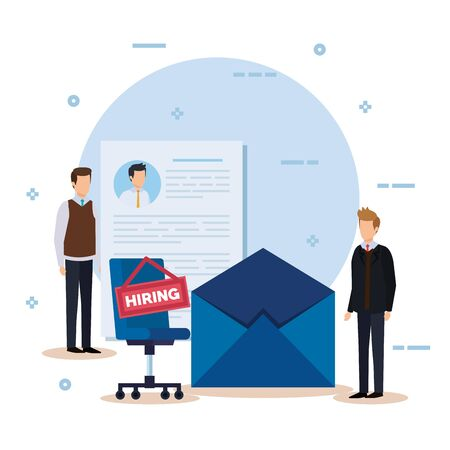 businessmen with curriculum vitae and chair hiring vector illustration Illustration
