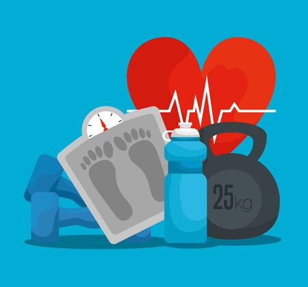 heartbeat with weighing machine dumbbell and water bottle vector illustration