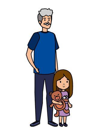 cute grandfather with granddaughter vector illustration design Illusztráció
