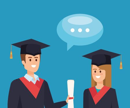 woman and man graduation with diploma and chat bubble vector illustration Vectores