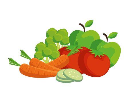 fresh vegetables and fruits salad vector illustration design Stock Vector - 132950825