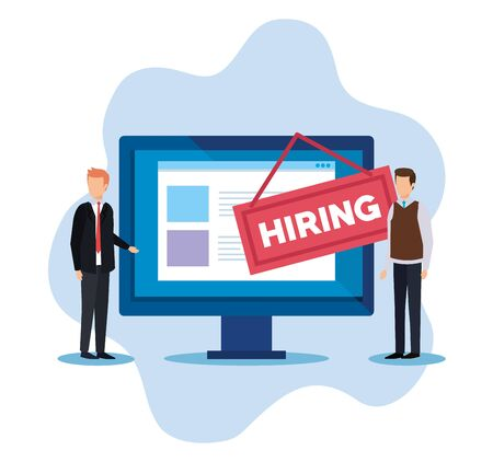 hommes d'affaires avec des documents informatiques et illustration vectorielle de l'emblème de l'embauche