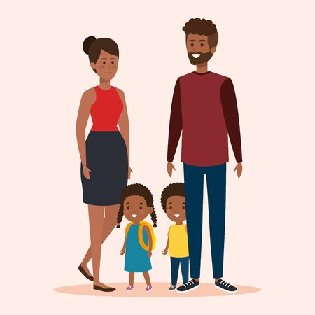happy woman and man with their daughter and son vector illustration Иллюстрация