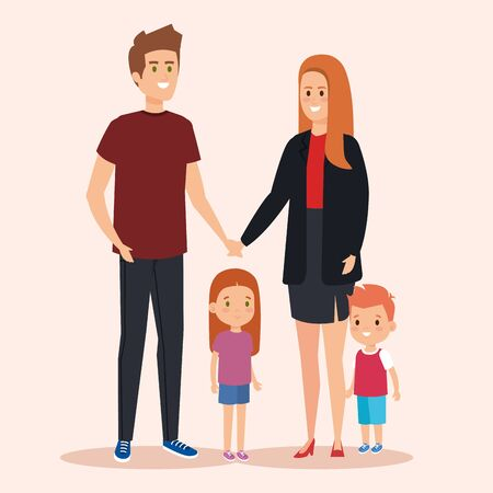 happy man and woman with daughter and son vector illustration
