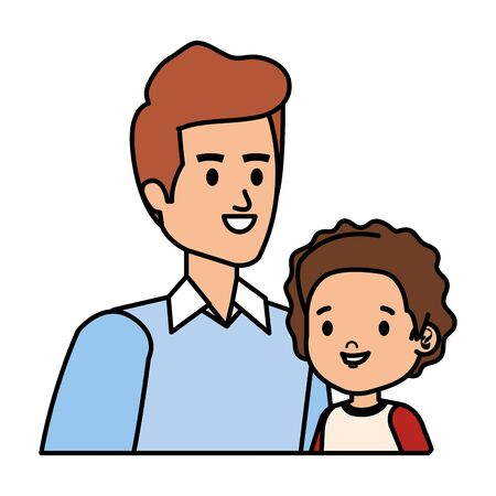 young father with son characters vector illustration design Ilustração