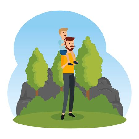 young father with son in the landscape vector illustration design Иллюстрация