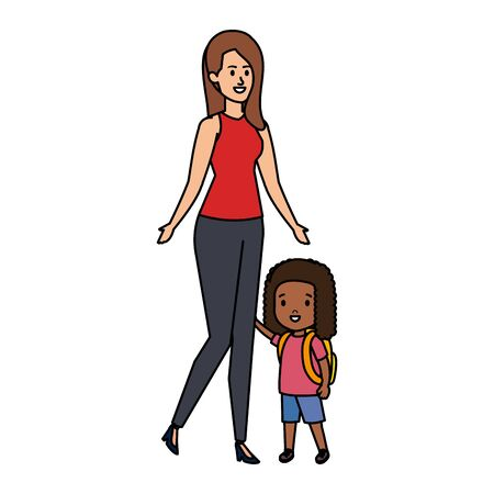 young mother with little daughter vector illustration design 스톡 콘텐츠 - 132960015