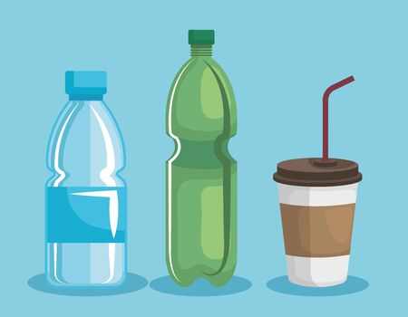 set of plastic cup and bottles over blue background vector illustration