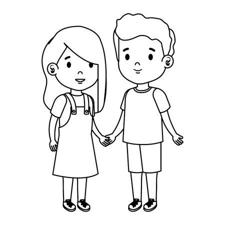 little kids couple characters vector illustration design Иллюстрация